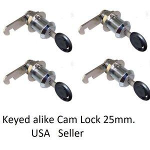 4 Pcs CamLock Cabinet Keyed Cam locks Keyed Alike lock RV Door drawer USA Seller