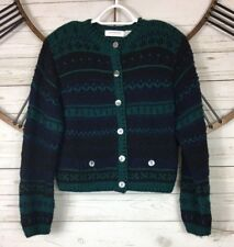Liz Claiborne Collection Knitted by Hand Wool Sweater Cardigan Womens Medium VTG