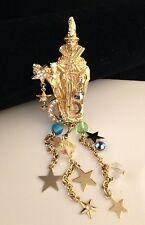 KIRKS FOLLY Gold Pin Brooch Wizard Star Moon Crystals & Art Glass NWT 8A