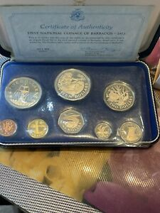 FIRst national coinage of barbados 8 Coins proof set value 1973