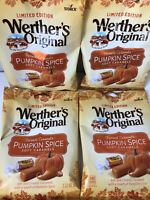4 Werthers Pumpkin Spice Soft Caramels Chewy Candy Bags Limited Ed 2.22 oz Each
