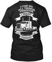 Trucker All Things Christ Black Lc - I Can Do Through Hanes Tagless Tee T-Shirt