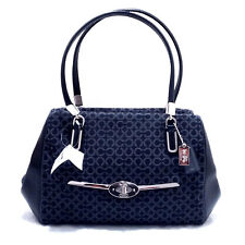COACH Madison Small Madeline East/West Satchel in Needlepoint Op Art 25215 Black