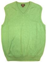 BROOKS BROTHERS 346 Mens Sweater Vest Size M Green V-Neck Supima Cotton Golf EUC