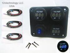 Three 12V Battery Bank Voltmeter Monitor RV Marine House Starting Wired Switch