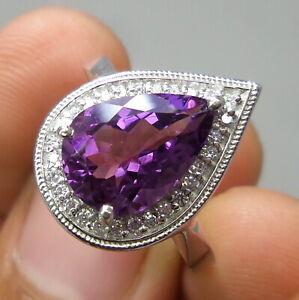 Natural AAA Brazilian Amethyst Pear Cut Stone 925 Sterling Silver Elegant Ring
