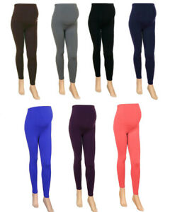 WOMENS MATERNITY LEGGINGS LADIES THIN SUMMER COLOURS OVER BUMP PLUS SIZE 10 - 26