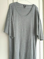 H&M WOMENS GREY BLOUSE TOP SIZE 16 LARGE SHORT SLEEVE PIT TO PIT 21 CREW NECK