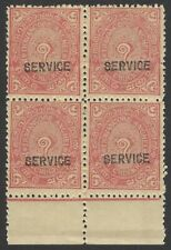 India Travancore Off 1941-2 1 1/2ch perf 12 MNH block of 4 SG O97c