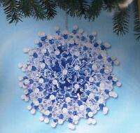 Sunrise WINTER FROST BLUE set of 2 Beaded Sequin Christmas Ornaments Kit ~ NEW