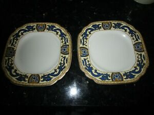 Vintage China Tea Plates x 2 Booths Blue and Gold