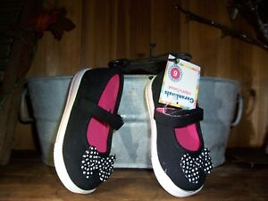 GARANIMALS GIRL TODDLER CASUAL SHOES SIZE 6 BLACK WITH DOT DESIGN BOW BLACK NEW