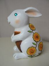 New Creative Jeweled Rabbit Statuary New White with Flowers Garden Statue