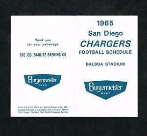 1965 San Diego Chargers Burgermeister Beer AFL Football Foldout Pocket Schedule