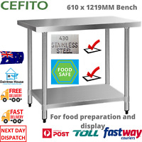 Cefito 430 Stainless Steel Kitchen Bench Commercial Food Prep Table 1219x610mm