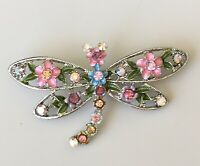 Adorable vintage style Dragonfly with  flower brooch enamel on metal.