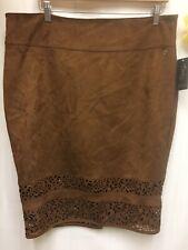 Women's Thalia Sodi XL Quito Camel Suede Skirt Brown zipper back