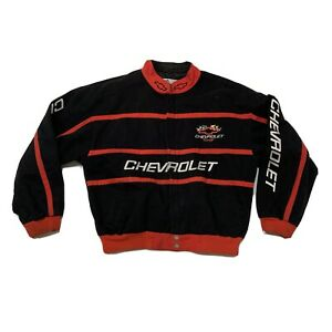Vintage Chevy Racing Jacket Men's Size XL Black Button-Down