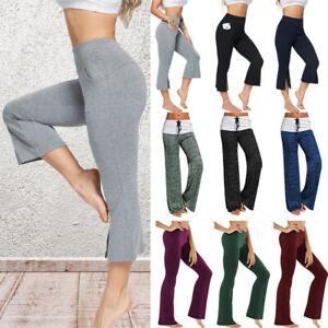 Bell Bottom Cropped Wide Leg Trousers Women Ladies 3/4 Length Pants Plus Size