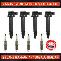 4x Genuine NGK Spark Plugs & 4x Ignition Coils for Toyota Landcruiser Prado