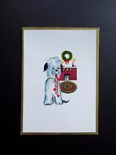 Vintage Unused Xmas Greeting Card Big Fluffy Dog with Holiday Stocking in Mouth