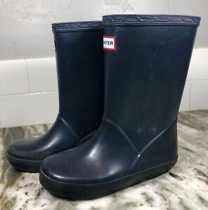 Hunter Original Kids First Classic Rain Boots Dark Blue Toddler Sz 10 - EUC