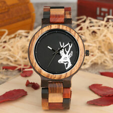 Fashion Handmade Mens Deer Quartz Nature Wooden Bamboo Analog Wrist Watch Gift