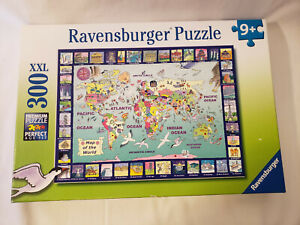 """Ravensburger Puzzle 300 XXL Map of the World 19"""" x 14"""" #13-190-7 Complete"""