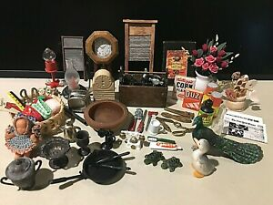 Great Lot Of Vintage Miniatures For Dollhouse Or Other-Most Are Metal Or Wood!