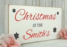Personalised Christmas Sign Plaque Vintage Gift Plaque shabby & Chic