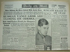 DAILY MAIL WWII NEWSPAPER APRIL 1st 1944 GREAT ADVANCES ON RUSSIAN FRONT