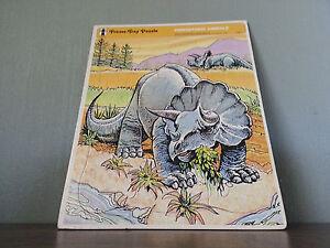 Vtg Rainbow Works Frame Tray Puzzle Prehistoric Animals Dinosaurs Triceratops !