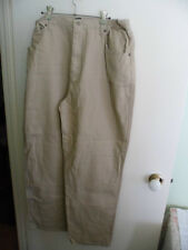 VINTAGE SIZE 18 WOMENS BEIGE COTTON HIGH WAISTED JEANS ELASTIC SIDE WAIST