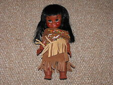 """Vintage 1960s Reliable Toys 11"""" Native American Indian Doll with Clothing"""