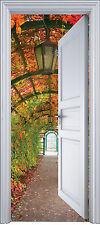 Sticker porte trompe l'oeil déco Jardin 90x200 cm réf 2132