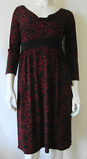 LONDON Dress Black & Red Pattern Cowl Neck Knee Length Size 6 NWT Retail $60.00