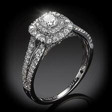 New 14K 1.00ctw Diamond Square Double Halo Ring Wg ~ Size 7.5