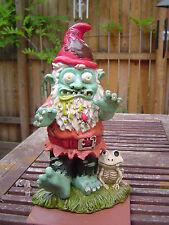 gross scary Zombie EVIL Gnome goth skull Halloween prop yard Statue decor gag