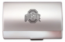 new The Ohio State University ENGRAVED SILVER BUSINESS CARD CASE HOLDER gift box