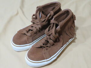 New Girl's Vans Kids Moccasins Shoes Carmel Brown Suede High Top Fringe Size 12