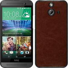 Hardcase for HTC One E8 leather optics brown Cover + protective foils