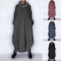 Vintage Femme Robe Asymétrique Confortable Manche Longue Chaud Loose Dresse Plus