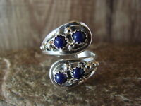 Navajo Indian Jewelry Sterling Silver Feather & Lapis Adjustable Ring! Belin