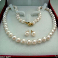 """AAA+ 8MM Natural White South Sea Shell Pearl 14K GP Necklace 18"""" + Earring A Set"""
