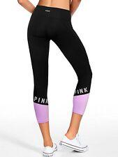 Victoria's Secret PINK Ultimate Moto Ankle Legging Pure Black/Purple Medium NEW