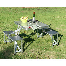 Aluminum Portable Camping Picnic Table Outdoor Table Chair Set Folding Silver