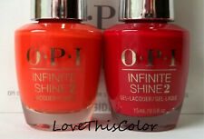 2 x Opi Infinite Shine 2 Lacquer Don'T Ever Stop & Big Apple Red Cream Lot
