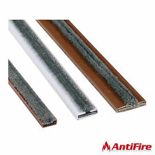 Intumescent Fire/Smoke Door Strip Seals - 2x 1.05m Lengths - White/Brown