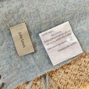 John Lewis 100% Lambswool Duck Egg Blue Tassled Blanket 55x65 inch