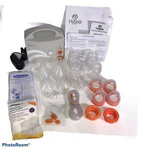 Hygeia Enjoye Breast Pump, Cord, Accessory Kit Sterilized Bags Nursing Pads Lot